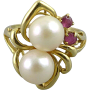 Vintage 14K Gold Double Pearl and Spinel Ring
