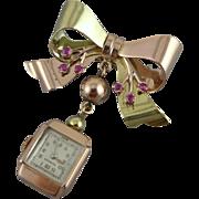 Retro 14K Rose & Green Gold Pendant / Lapel Watch Pin