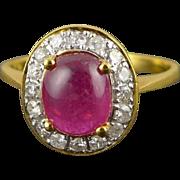 18K Gold Pink Tourmaline & Diamond Halo Ring