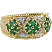 Estate 14K Gold Emerald Diamond Band Ring