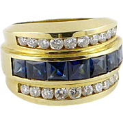 Vintage 14K Gold Sapphire & Diamond Band Ring - 4 ctw
