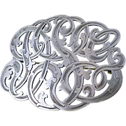 Large Antique Sterling Silver Initial Brooch / Pin