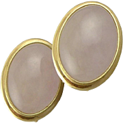 Estate 14K Gold Rose Quartz French Back Earrings