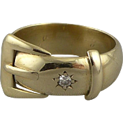 English 9ct Gold Belt Buckle Ring with Diamond