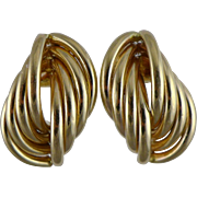 Vintage 14K Gold Curved Tube Earrings