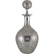 Antique Solid Silver Overlay Decanter by Black, Starr & Frost c. 1886