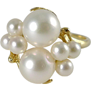 14K Gold Cultured Pearl Cluster Ring