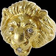 Vintage 14K Gold & Diamond Lion Head Ring - Mens