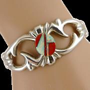 Navajo Sterling Silver Opal & Spiny Oyster Sandcast Cuff Bracelet by F. L. Begay