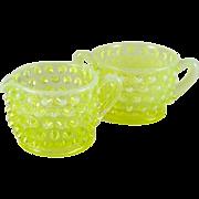 Vintage Fenton Topaz Hobnail Opalescent Vaseline Glass Sugar & Creamer
