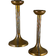 Antique Heintz Bronze & Sterling Candlesticks, Sea Grass 3107
