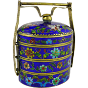 Vintage Chinese Polychrome Cloisonne Oval Stacking Box Or Tiffin Cobalt Blue