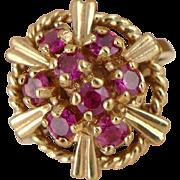 Vintage Retro 10K Gold Ruby Cluster Ring