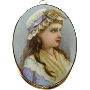 Vintage 10K Gold Hand Painted Porcelain Portrait Brooch / Pin Or Pendant