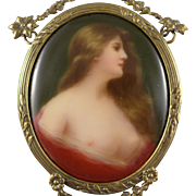German Porcelain Portrait Miniature Of Odalisque, Hand Painted, Signed In Bronze Frame, After
