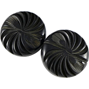 Vintage Black Carved Bakelite Buttons, Large Pair