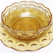 Vintage Bartlette Collins Amber Manhatten Pattern Bread / Butter Plate with Dessert Dish c1967