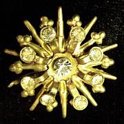 Vintage Bronze Tone Sparkling Clear Crystal Rhinestone Snowflake Pattern Costume Jewelry Pin .