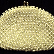Vintage White Satin Beaded Coin Purse Hand Made in Japan