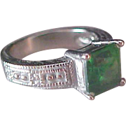 SALE Simulated Green Emerald  Square Cut Stone ~Antiqued Textured Silver Plate Ring ~ Size 7