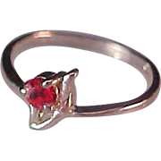 SALE Simulated Ruby Red Rhinestone~STERLING~Birthstone Ring (July) Size 6 1/4