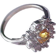 SALE Simulated Honey Amber & Pave Diamante Silver Plate Ring ~ Size 7