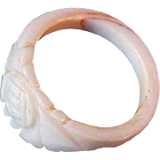 SALE Hand Carved Ivory Colored CELLULOID  Ring