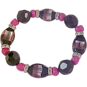 SALE Amazing Pink~Silver~Black Glass Crystals & Flat Bead Bracelet