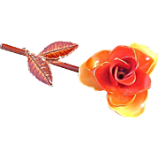 SALE Exotic TALISMAN Rose~Metal~Thick Hard Enamel Brooch