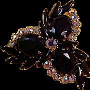SALE Delizza & Elster JULIANA Glass Oval & Navette~Aurora Borealis Gold Plate Brooch