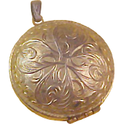 SALE REDUCED~Embossed Engraved Gold Plate LOCKET~Opens top to bottom