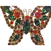 SALE Fabulous Open Design BUTTERFLY Brooch & Matching Earrings~Simulated Orange Sapphire~Topaz