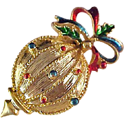 SALE Rare Christmas ORNAMENT~ Gold Plate & Colorful Enamel Brooch