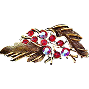 SALE Ruby Red & Aurora Borealis Rhinestone~Trademark LISNER Antiqued Gold Plate Brooch