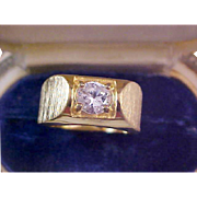 SALE Beautiful Cubic Zirconia 14KT Gold Plate MAN'S Ring Size 9