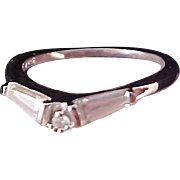 SALE REDUCED~STERLING Silver~ C.Z. Baguettes & Round Cut Wedding/ Engagement Ring~ Size 7 3/4