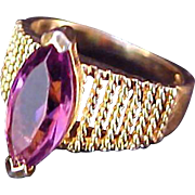 REDUCED SALE~Queen's Special~~ 18 KT Gold Fill Lab Created Amethyst Marquis  Ring ~ Size 6 3/4