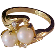 SALE 18K G.F. Double Simulated PEARL Ring ~ Size 8 1/2