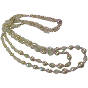 REDUCED REDUCED~Awesome Simulated Mint Green Faux Pearls~Green Crystal~Bicone Crystal Double S