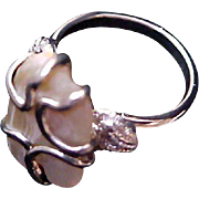 REDUCED Genuine MEXICO ABALONE Massive Silver Wrap Ring ~  Size 8 1/4
