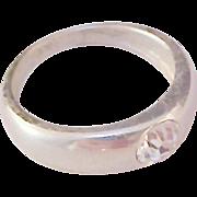 SALE Bezel Set DIAMANTE Silver Plate Ring ~ Size 6