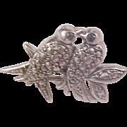 SALE AVON - Antiqued Silver Marcasites LOVE BIRDS Brooch/Pin