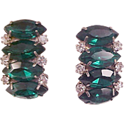 SALE Luxurious Simulated Faceted Emerald Green Marquis & Diamante Clip Earrings