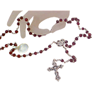 SALE VINTAGE Diamond Cut GARNET Glass Faceted Rosary ~ New/Old Stock  Silver Plate