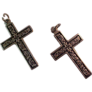 SALE Antiqued Silver Plate~ Two Crosses ~For Him & Her or Best Friends