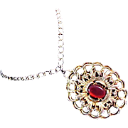 SALE Ruby Red ART GLASS Oval cabochon Open Design MEDALLION and Chain