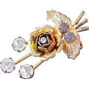 SALE ROSEBUD~ Diamante and Blue Topaz 1940's Brooch~Textured Gold Plate