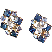 SALE 50% Off~Spectacular Simulated Sapphire & Blue Topaz  Clip Earrings ~1940's