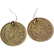 SALE EGYPTIAN Inspired COIN  Dangle Dark Gold Tone Kidney Wire Earrings