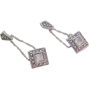 SALE AVON~Charming VICTORIAN Inspired Square Cut C.Z.~Simulated Marcasite~Antiqued Silver Plat